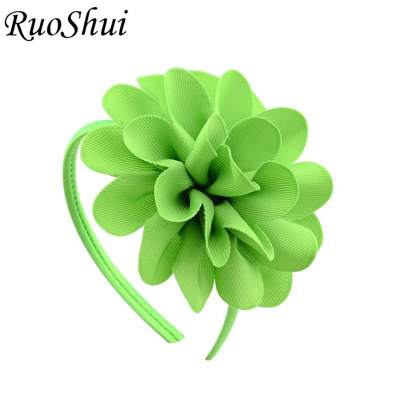 4.5 Inch Solid Big Flower Headband Hairband for Women Girls Bow Hair Hoop Grosgrain Ribbon Hair Accessories Handmade   Headwear
