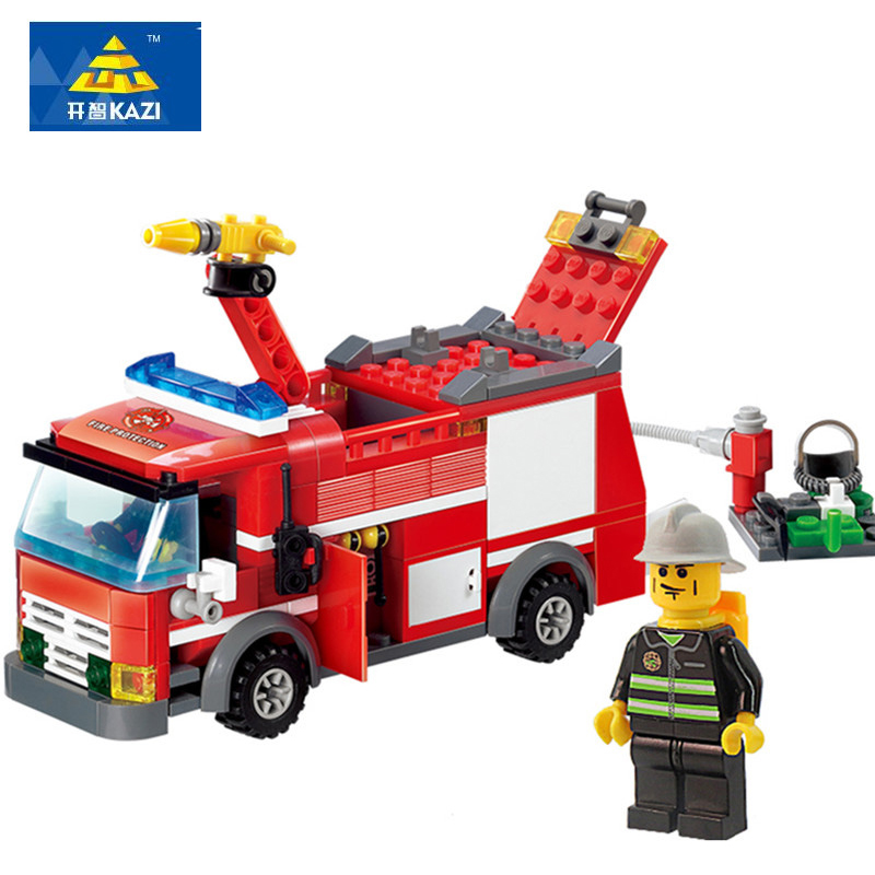 206Pcs Kazi 8054 FireTruck Building Blocks Firefighter Toys Bricks City Educational DIY Bricks Toys For Boys playmobile