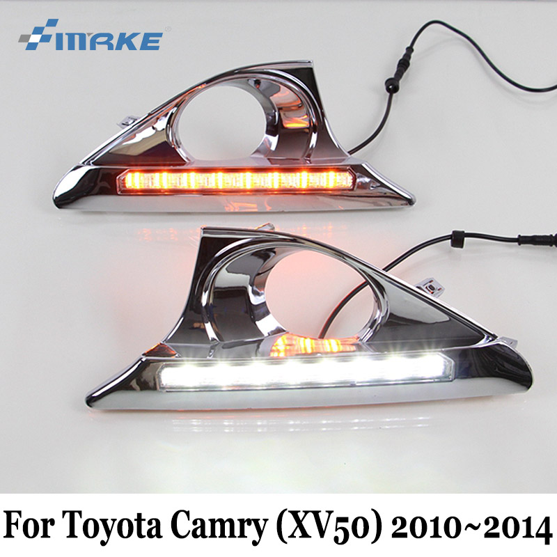 SMRKE DRL Per Toyota Camry XV50 2010 ~ 2014/12 V Auto LED Daytime Running Light & Curva Lampada/Car Styling Fendinebbia telaio