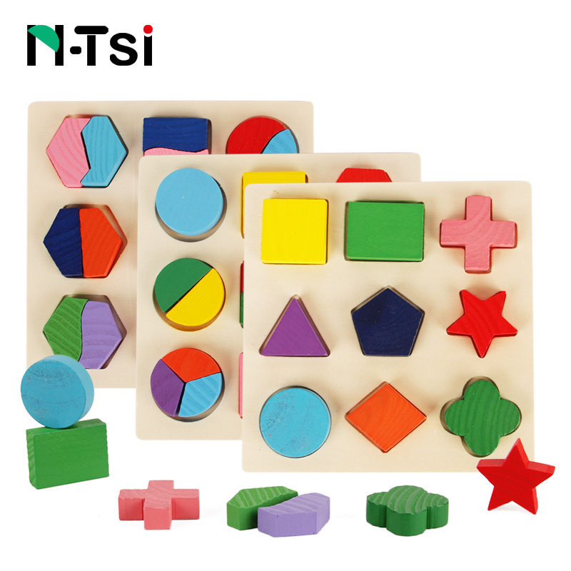 цена на N-Tsi Wooden Geometric Shapes Sorting Math Montessori Puzzle Preschool Learning Educational Game Baby Toddler Toys for Children
