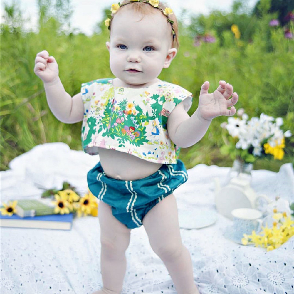2pcs/Set Summer Baby Girls Jumpsuit Sleeveless Floral Tank Top+ Bloomers Short Clothes Sunsuit Outfit 2pcs