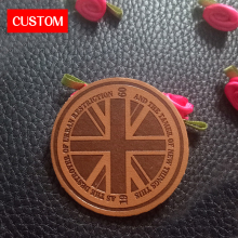 factory private customzied PU leather embossed labels sewing on clothes genuine personalized clothing custom
