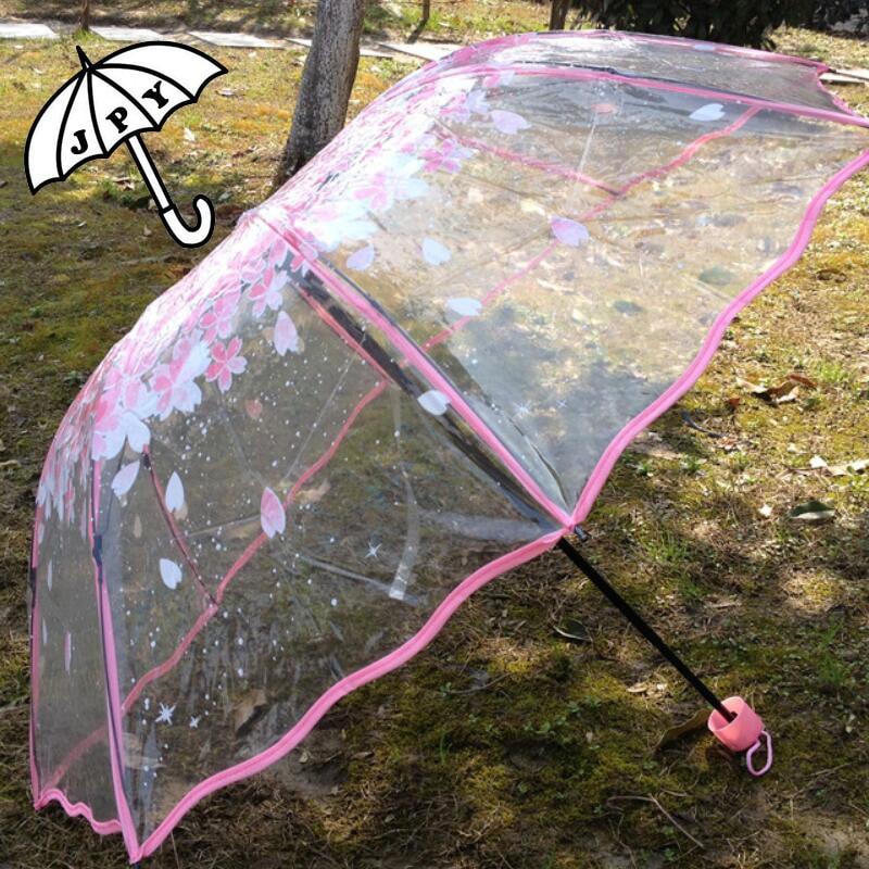 Golvende rand drie opvouwbare roze paraplu Sakura nieuwe mode dikke transparante paraplu Meisjes Fresh Rromantic Parasol