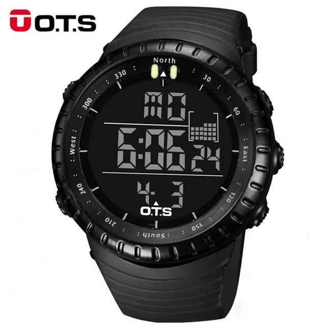Relogio masculino 2016 OTS Relógios Digitais homens esportes 50 M À Prova D' Água de Quartzo mostrador grande Luminosa militar relógios de pulso Relógio Masculino