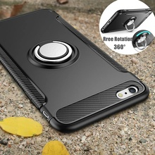 Shockproof Case for iPhone 7 6 6s 8 Plus X 5 5s se Silicone and Hard PC Back Cover With Magnet Car Holder Metal Phone Ring Stand