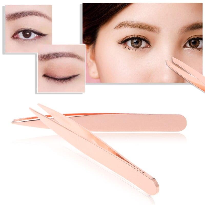 YAS Eyebrow Tweezers Hair Beauty Slanted Flat Pointed Tip Stainless Steel Tweezer
