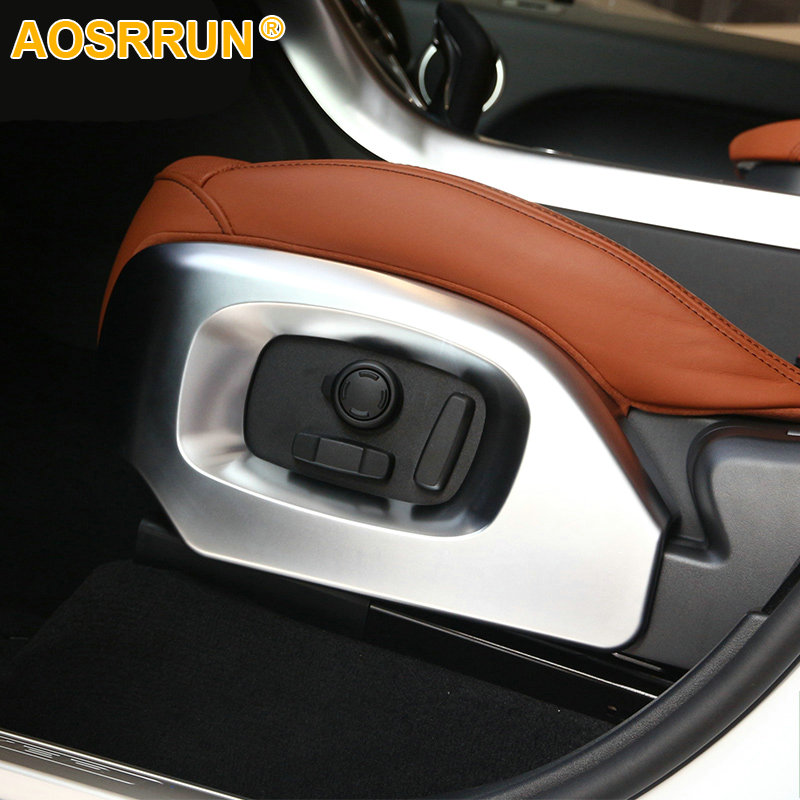 AOSRRUN 2pcs Car Styling Accessories ABS Chrome Seat Frame Decoration Trim For Land Rover Range Rover Sport Vogue 2014-2017 4pcs set car interior accessories side door molding trim for land rover range rover sport 2014 2015 2016 2017 styling abs chrome