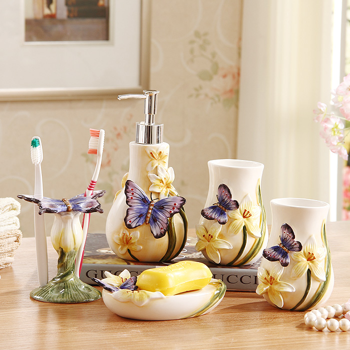 5 pcs home decor wedding gift ceramic bathroom accessary - Bathroom soap and lotion dispenser set ...