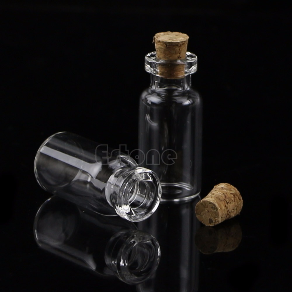 2mL 10Pcs Mini Small Tiny Clear Cork Stopper Glass Bottles Vials #Y207E# Hot Sale wholesale 200pcs 4ml 22 25mm small glass vials with cork tops bottles little empty jars