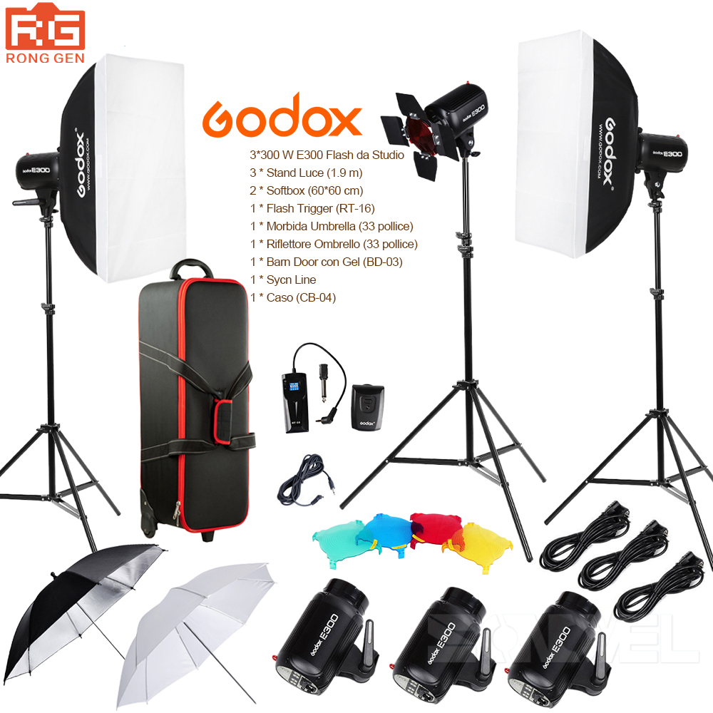 Godox E300 14in1 Professionale Flash da Studio Photography Luce Set + Valigia + Portable Umbrella softbox + Light Stand + Grilletto