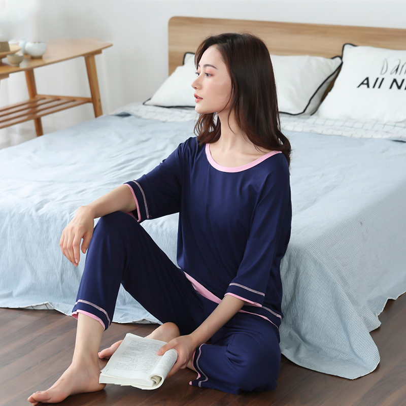 Women Pajamas Set 2 Piece Sweatshirt + Pants Pajama Sets Sexy Lace O Neck Homewear Sleep Set Ladies Pyjamas Sleepwear Summer