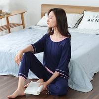 Women Pajamas Set 2 Piece Sweatshirt + Pants Pajama Sets Sexy Lace O Neck Homewear Sleep Set Ladies Pyjamas Sleepwear Summer