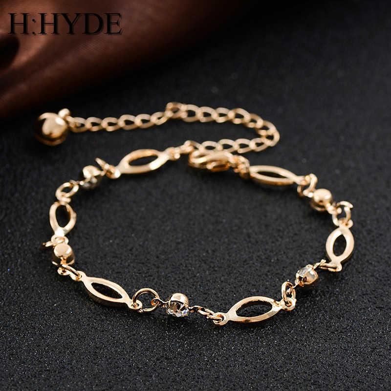 H: ハイドブランドジュエリートップ品質ボヘミアスタイルゴールド色アンクレットジュエリーオーストリアのクリスタル卸売