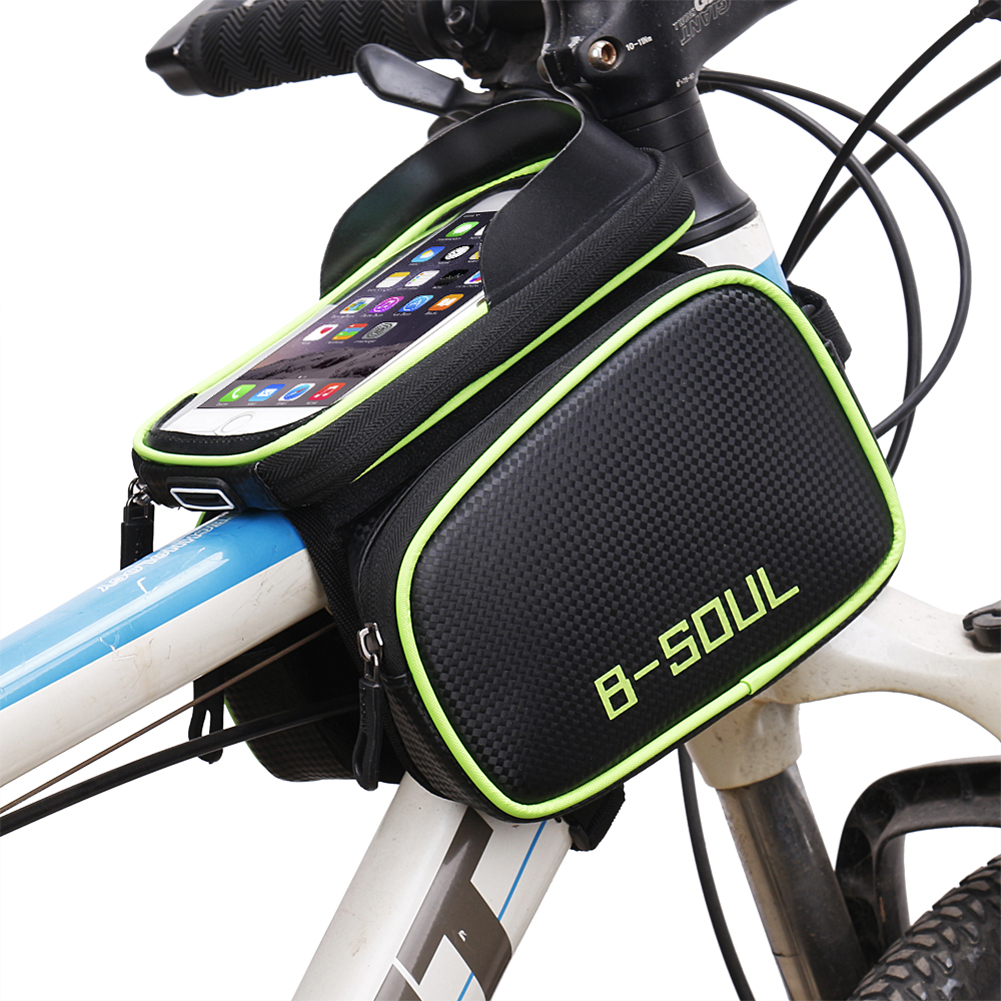 Bike Bag Rainproof Bicycle Front Head Bag Tube Bag Bike Frame Bag Double Bike Phone Holder for 5.8 6.2 Inch Phone Touch Screen