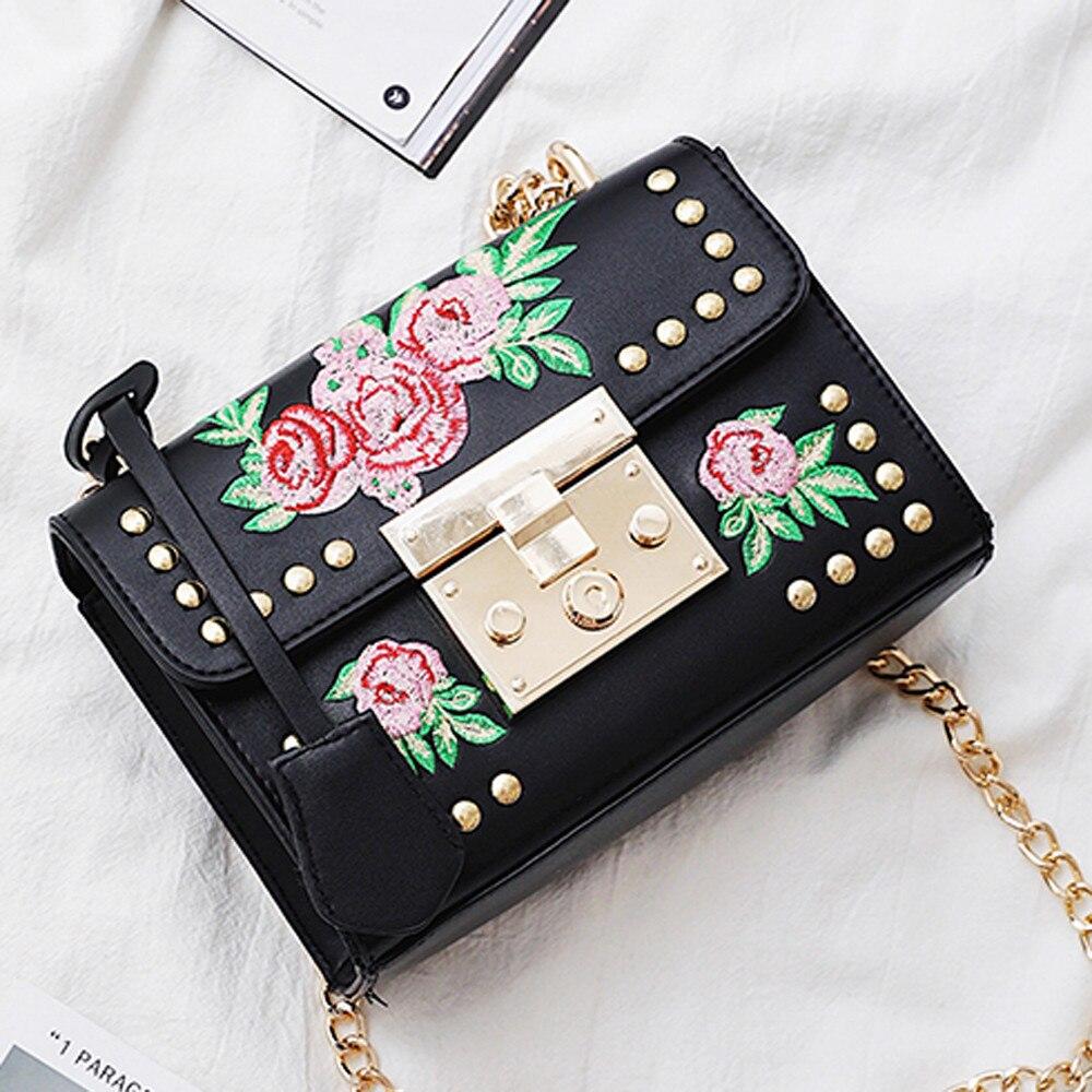 Handbags Women Messenger Dating Embroidery Rose Crossbody Shape Bag Plaid Stripes Wool Belt Buckle Crossbody Shoulder Bags