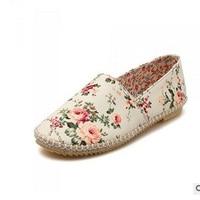 Women S Printed Floral Canvas Cotton Fabric Cheap Hemp Round Toe Plus Size 34 43 Lady