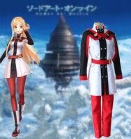 Anime Sword Art Online-Şarkının Sıra Ölçekli Asuna Yuuki Cosplay Kostümleri Kızlar Üniforma Takım Kadın Cadılar Bayramı Cosplay kıyafet