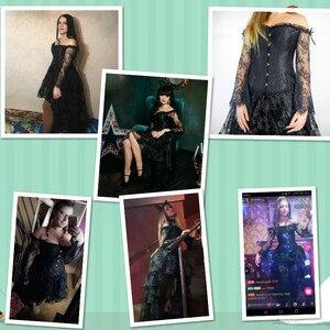 Image 3 - Steampunk מחוך סקסי גותי Bustier סדיר ארמון סגנון למעלה תחרה סטרפלס שמלת 14 פלדת עצמות הרזיה בורלסק בגדים