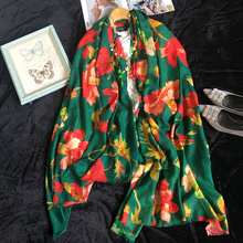 Cashmere Scarf Women Designer 2017 Luxury Brand  Cashmere Scarf Green Red Flower Scarves Bandanas Headwear 110*200