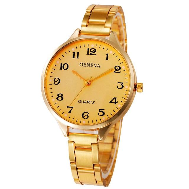 New Fashion Women's Watch Crystal Stainless Steel Analog Quartz Wrist Watch Brac