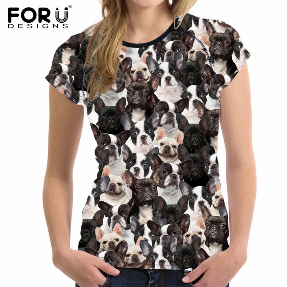FORUDESIGNS Cute Puzzle Animal French Bulldog Dog Print Women T shirt Brand Short Sleeve Top Tee Fashion Fitness Female Tshirts