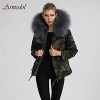 2017 Good quality Camouflage Fur Parka Big Raccoon collar Hood Women Warm Jacket short Fur parka Factory Price