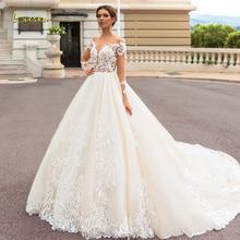 Loverxu сексуальное бальное платье с открытой спиной и длинным рукавом, свадебные платья с глубоким вырезом, аппликации из бисера, часовня, поезд, винтажные свадебные платья