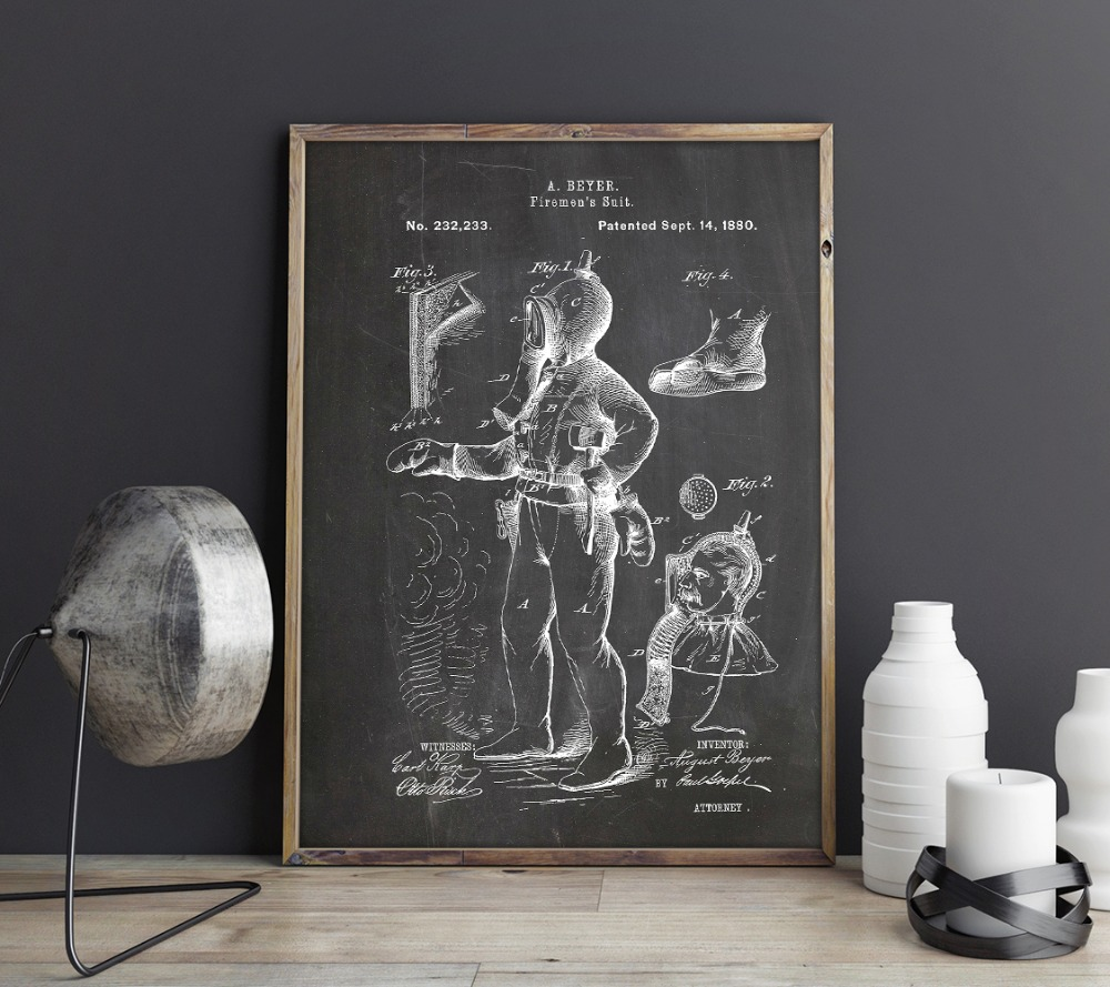 Firemen's Suit Patent,Fire Fighter Art,picture Prints,poster,home Decor,vintage Print,blueprint,Firefighter,drawing,Rescue