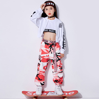 Jazz Dance Costumes Kids Hip Hop Performance Clothing Girls Street Dance Practice Clothes Rave Stage Outfits 3 Pcs Set DL3078