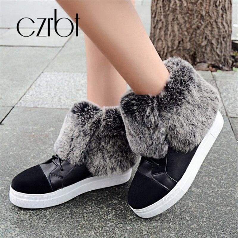 CZRBT hiver chaussures pour femmes ceinture en cuir chaud peau de lapin doux bottes de neige pour les femmes mode confortable chaussures pour femmes antidérapantes - 4