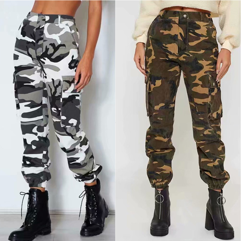 newest style attractive style cheap prices US $20.29 42% OFF streetwear camouflage cargo pants joggers women High  waist pants harem camo pants women punk capris trousers-in Pants & Capris  from ...