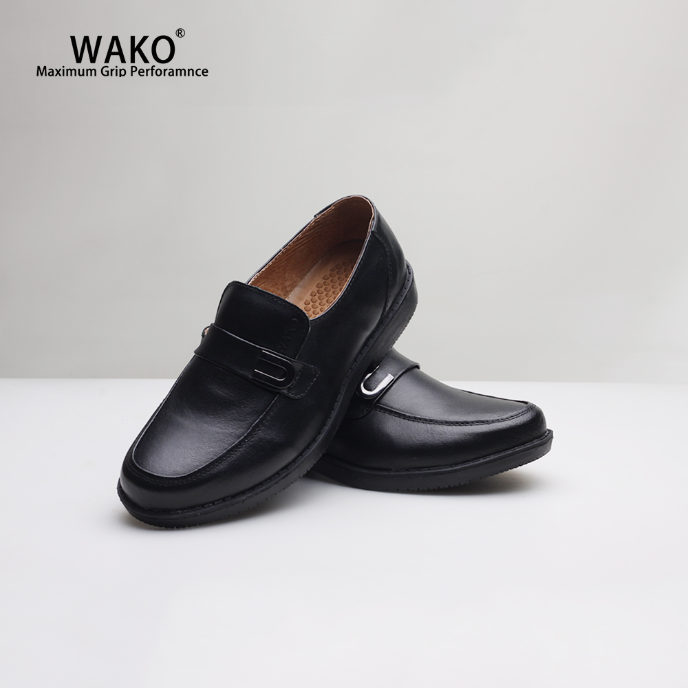 WAKO Men Chef Shoes Black Leather Loafers Non-Slip Kitchen Cook Shoes Anti-Skid Hotel Restaurant Hospital Work Shoes 9552