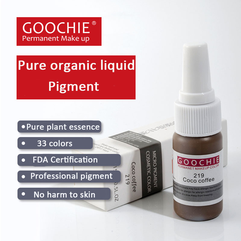 Goochie Permanent Makeup tattoo ink, pure organic liquid pigment 1/2Oz (15ml) for eyebrow tattoo ink hot sale 10 pcs free shipping mirco permanent makeup pigment for munsu eyebrow and lip beauty makeup tattoo ink goochie quality