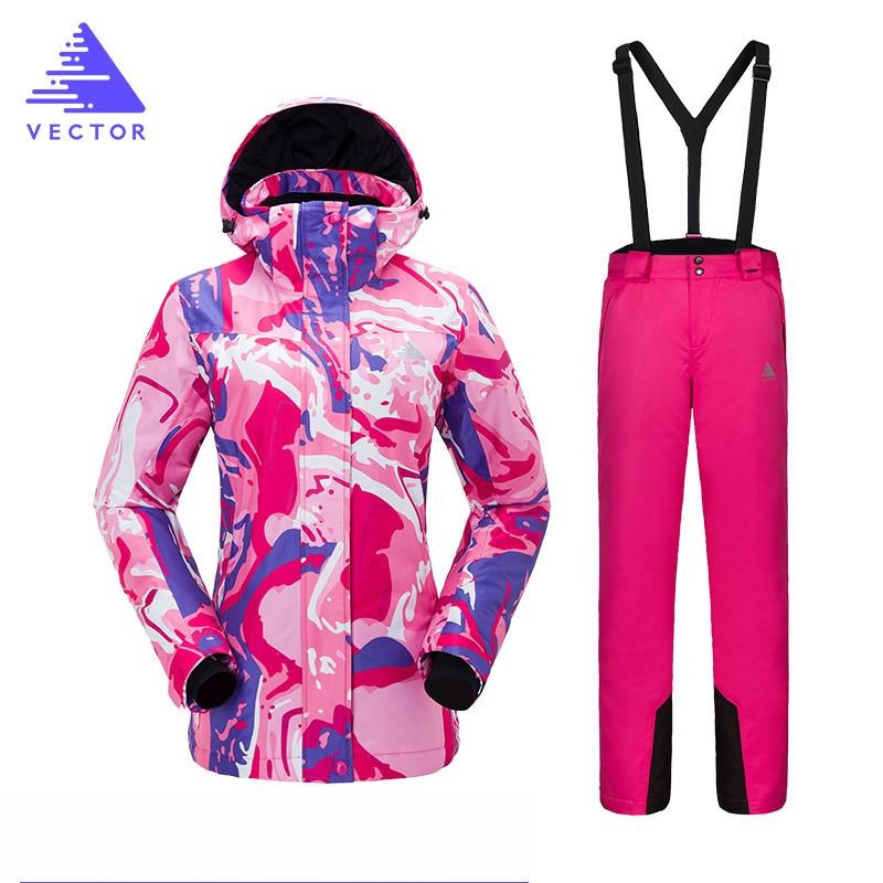 Combinaison de Ski femmes montagne imperméable Snowboard Super chaud veste de Ski et pantalon ensemble de Ski femmes hiver en plein air femme neige costumes