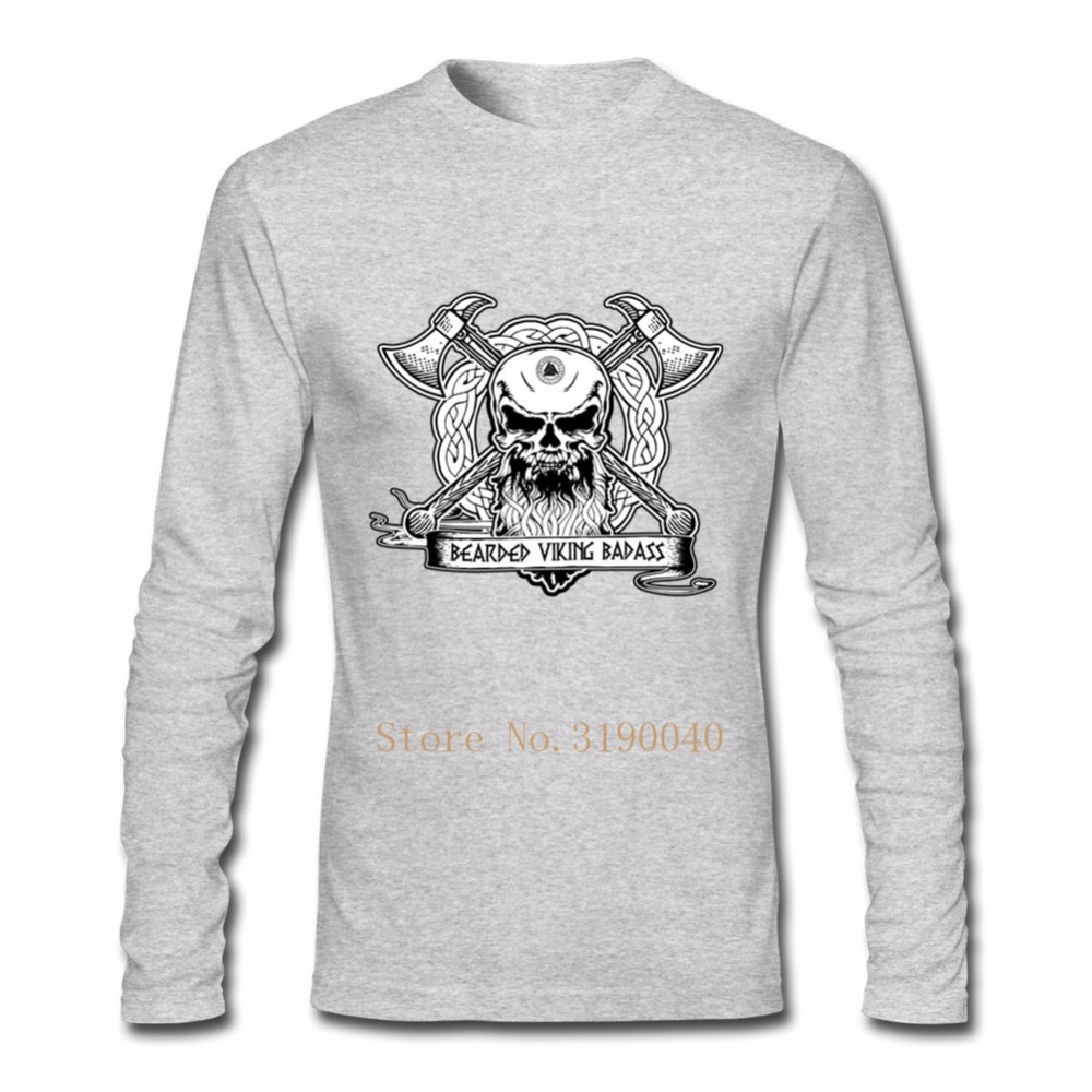 a4c274c5 Funny T Shirts Bearded Viking Badass T Shirt Mechanic Skull Customized Male  Cotton Long Sleeve Clothes On Sale Hombre Funny Tees