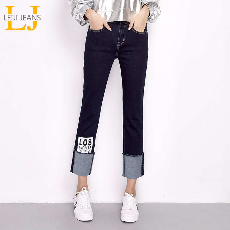 LEIJIJEANS New Arrival Spring Plus Size Letter Printing Cuff Stretch High Waist Ankle Length Women Skinny Straight   Jeans