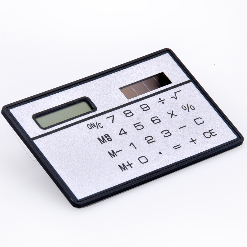Mini Ultra Thin Calculator Generel Solar Energy Håndholdt 8-cifret Pocket Card Style Calculator