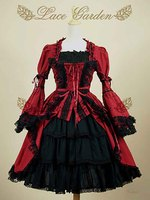 Ladies Black/Red Gothic Punk Princess Lace Layered Cosplay Lolita Long Sleeve Dresses Victorian Costume For Women Plus Size 2XL