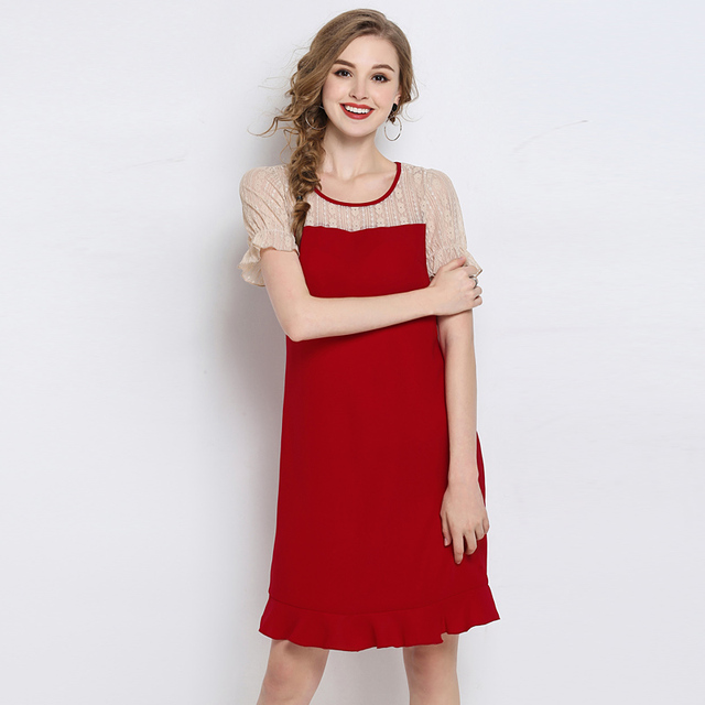 Woman Lace Patchwork Party Red Summer Dresses 2018 Plus size luxurious Cheap  Sweet Fashion Sexy Cute Korean Dress for women 5XL 8a5a5293a