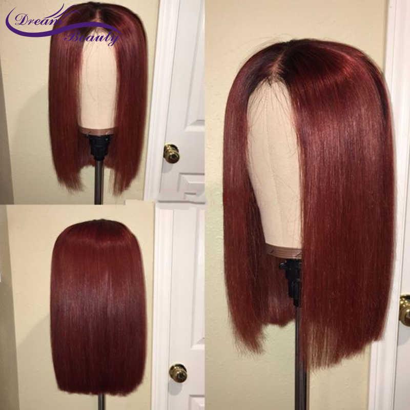 Омбре 99j бордовые причёска Боб с прямыми волосами кружева передние человеческие волосы парики с детскими волосами предварительно сорванные средней части бразильский парик из натуральных волос