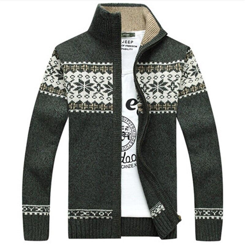 Mens Button Down Snowflake Fine Knit Christmas Cardigan Jumper Coat