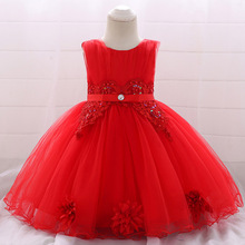 Элегантный костюм для новорожденных с цветочным принтом для первого причастия; нарядное платье для девочек; пышная одежда для крещения для детей 0-2 лет; пышные платья