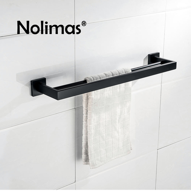 sus 304 rvs dubbele handdoekhouder zwarte vierkante handdoekenrek in de badkamer matte black wandmontage handdoekhouder
