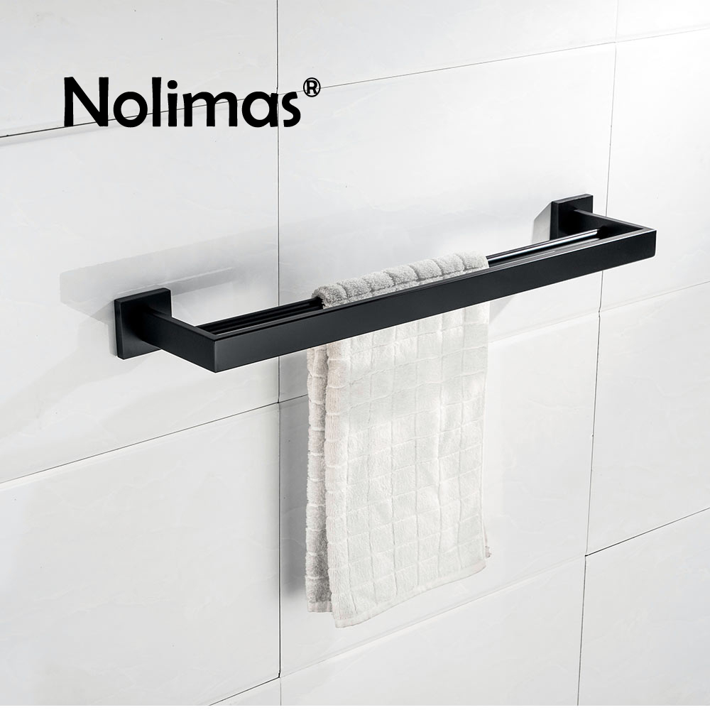 SUS 304 Stainless Steel Double Towel Bar Black Square Towel Rack In The Bathroom Mirror Polished Wall Mounted Towel Holder high quality silver stainless steel wall mounted kitchen bathroom double bar rack double towel bar