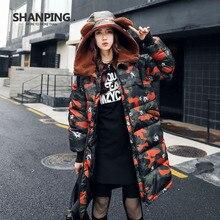 SHANPING 2017 Winter women's coat long of Hooded Jacket dress SP17811