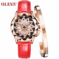 OLEVS ladies watch luxury waterproof lucky turntable watch ladies fashion casual belt quartz watch female watch