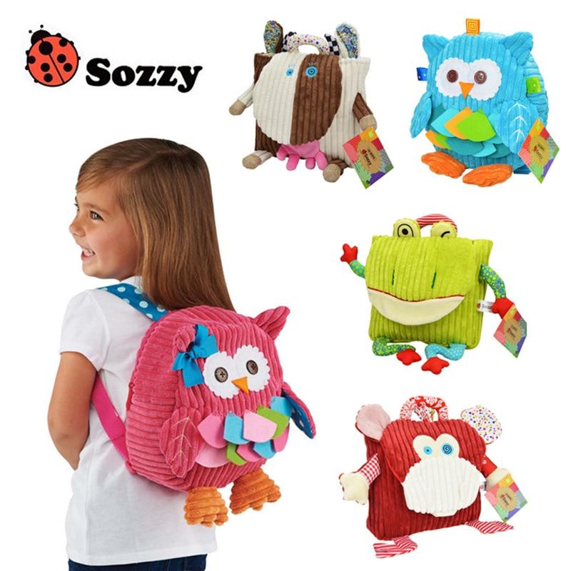 Sozzy Cute Kid Plüsch Schule Rucksäcke 25 cm Tierfigur Tasche Kind Mädchen Jungen Geschenke Spielzeug Eule Kuh Frosch Affe schultasche