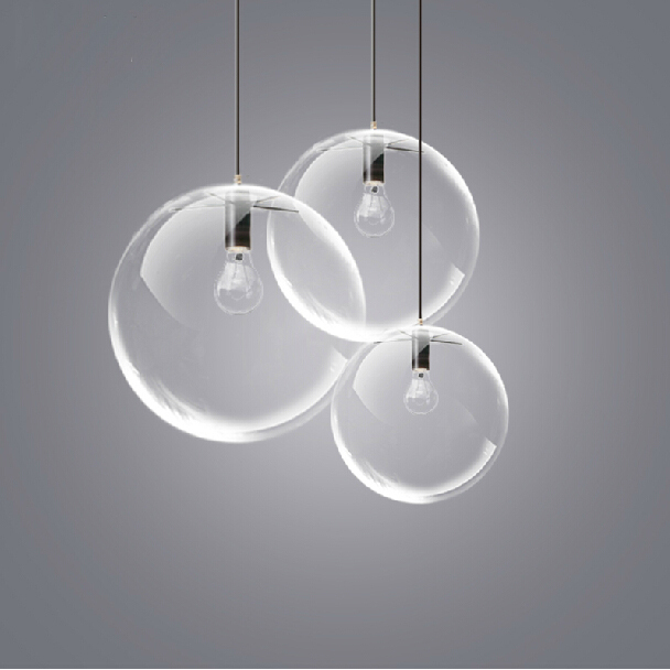 American Country Clear Glass Ball Pendant Lights Fixture Restaurant
