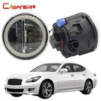 Cawanerl For Infiniti M M25 M37 M56 Car H11 LED Bulb 4000LM Fog Light Angel Eye DRL Daytime Running Light 12V 2011 2012 2013