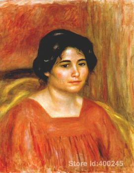 Wall art Gabrielle in a Red Blouse by Pierre Auguste Renoir decorative paintings Handmade High quality